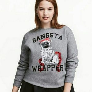 H&M Gangsta Wrapper Pug Ugly Christmas Sweater